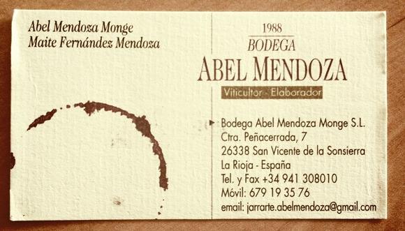 Blog Vin - Bodega Abel Mendoza - Espagne - Rioja - carte visite