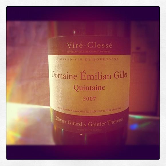 Blog vin - Domaine Emilian Gillet - Quintaine - Viré Clissé - 2007