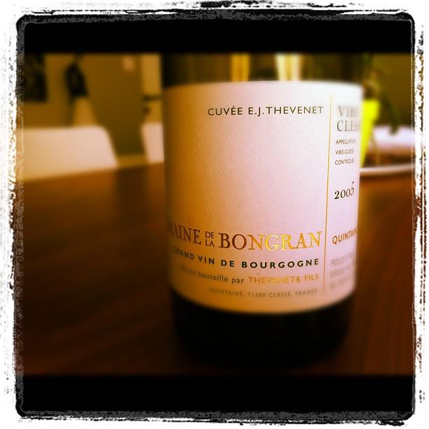 Blog vin - Domaine de la Bongran - Viré Clissé - Cuvée EJ Thevenent - Quintaine - 2005