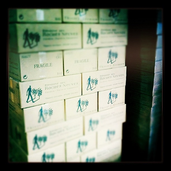 Blog vin - Domaine des Roches Neuves - Visite du Domaine - caisses de vins