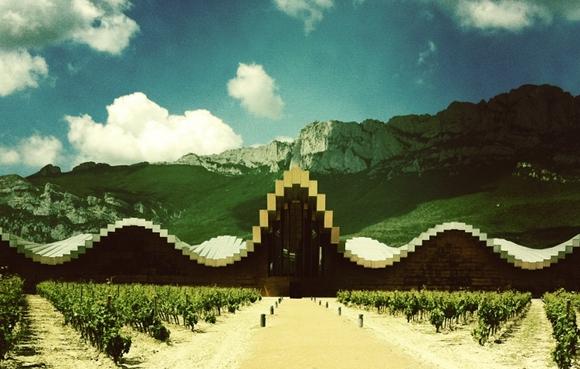 Blog vin - Bodegas Ysios - vue devant montagne