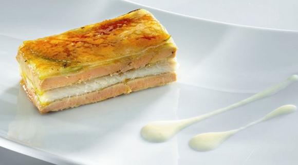Mille-feuille anguille et foie gras - pomme verte