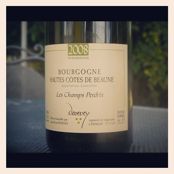 blog vin - Domaine Devevey - Hautes Côtes de Beaune - Les Champs Perdrix - 2008 - Bourgogne